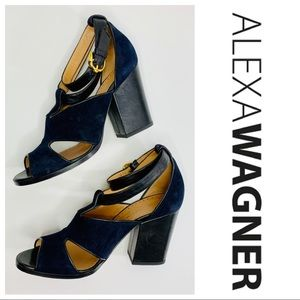Alexa Wagner Blue Suede Black Leather Strappy Heel